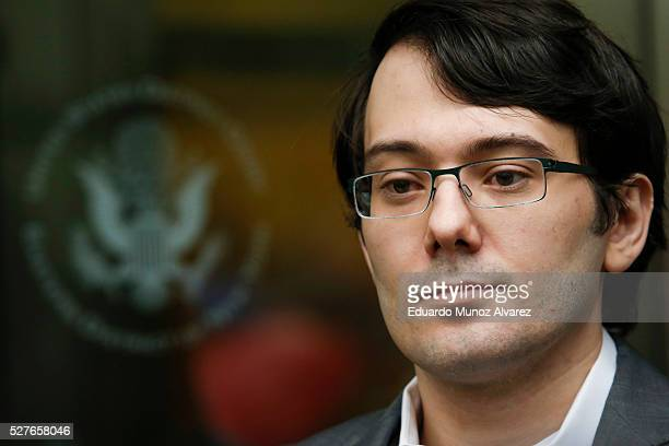 Martin Shkreli former Chief Executive Officer of Turing Pharmaceuticals LLC exits federal court on May 3 2016 in the Brooklyn borough of New York...