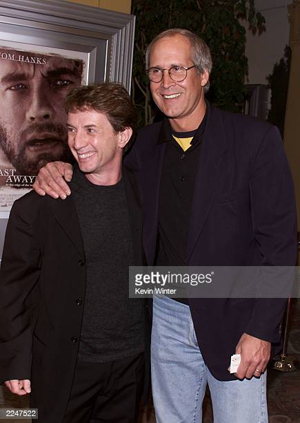Martin Short and Chevy Chase at the premiere of 'Castaway' at the Village Theater in Los Angeles Ca 12/7/00 photo Kevin Winter/Getty Images