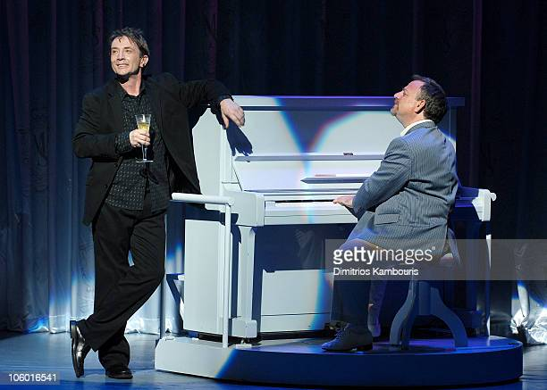 Martin Short and Marc Shaiman during Martin Short Fame Becomes Me Broadway Opening Night Curtain Call at Bernard B Jacobs Theatre in New York City...