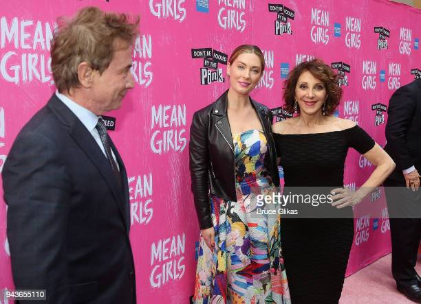 Martin Short watches as Briga Heelan and Andrea Martin pose at the arrivals for the opening night of the new musical based on the cult film 'Mean...