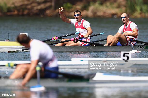 Martin Sinkovic and Valent Sinkovic of Croatia react after winning the gold medal in the Men's Double Sculls Final A on Day 6 of the Rio 2016 Olympic...