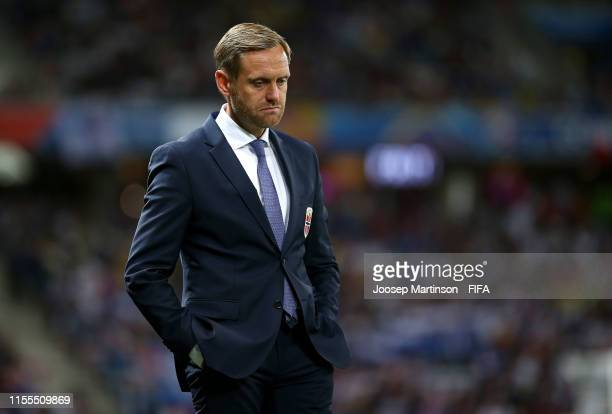 Martin Sjogren, Head Coach of Norway looks on during the 2019 FIFA Women's World Cup France group A match between France and Norway at Stade de Nice...