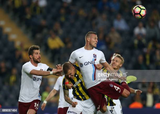 Martin Skirtel of Fenerbahce in action against Jan Durica of Trabzonspor during the Turkish Spor Toto Super Lig soccer match between Fenerbahce and...