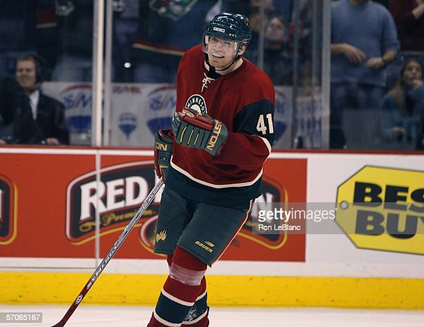 Martin Skoula celebrates his first goal as a member of the Minnesota Wild during the third period against the of the Edmonton Oilers on March 12,...