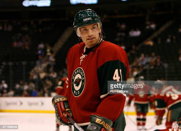 Martin Skoula of the Miinnesota Wild skates during pre-game warm-ups prior to a game against the Edmonton Oilers on March 12, 2006 at the Xcel Energy...