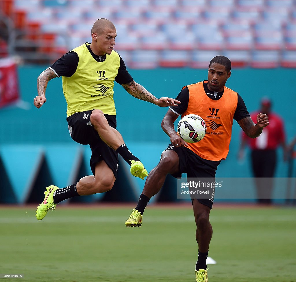 Martin Skrtel and Glen Johnson of Liverpool in action during an open training session at Sunlife Stadium on August 3, 2014 in Miami, Florida.