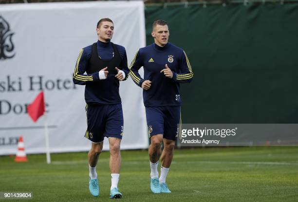 Martin Skrtel of Fenerbahce attends a training session ahead of the 2nd half of Turkish Super Lig at Belek Tourism Center in Serik district of...
