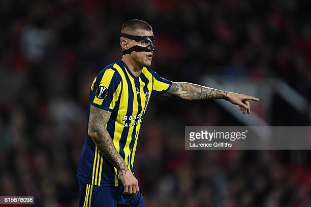 Martin Skrtel of Fenerbahce looks on during the UEFA Europa League Group A match between Manchester United FC and Fenerbahce SK at Old Trafford on...
