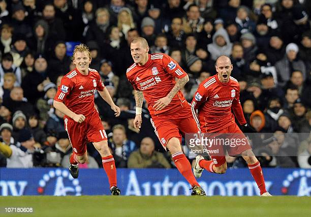 Martin Skrtel of Liverpool celebrates after scoring the opening goal during the Barclays Premier League match between Tottenham Hotspur and Liverpool...