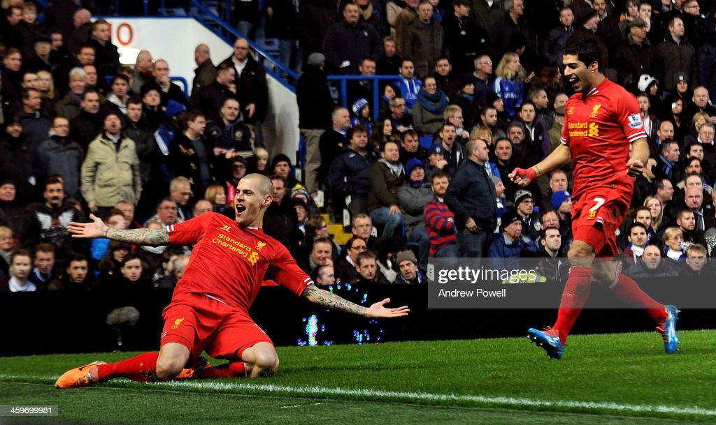 Martin Skrtel of Liverpool celebrates after scoring the opening goal during Baclays Premier Leauge match between Chelsea and Liverpool at Stamford Bridge on December 29, 2013 in London, England.