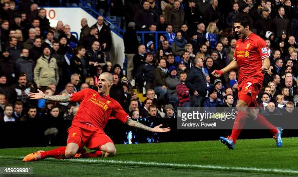 Martin Skrtel of Liverpool celebrates after scoring the opening goal during Baclays Premier Leauge match between Chelsea and Liverpool at Stamford...