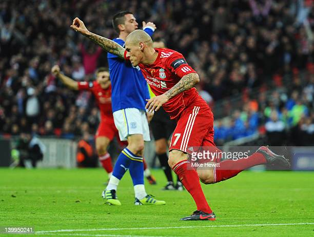 Martin Skrtel of Liverpool celebrates as he scores their first goal during the Carling Cup Final match between Liverpool and Cardiff City at Wembley...