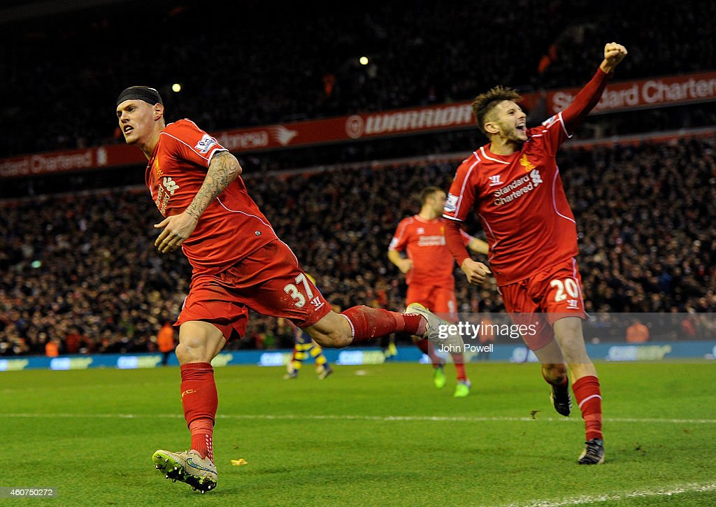 Martin Skrtel of Liverpool celebrates his goal during the Barclays Premier League match between Liverpool and Arsenal at Anfield on December 21, 2014 in Liverpool, England.