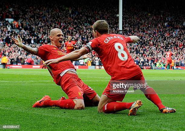Martin Skrtel of Liverpool celebrates his goal during the Barclays Premier Leuage match between Liverpool and Manchester City at Anfield on April 13...