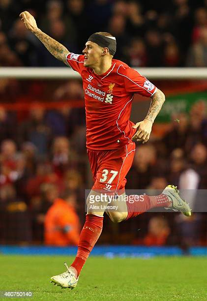Martin Skrtel of Liverpool celebrates scoring his goal during the Barclays Premier League match between Liverpool and Arsenal at Anfield on December...