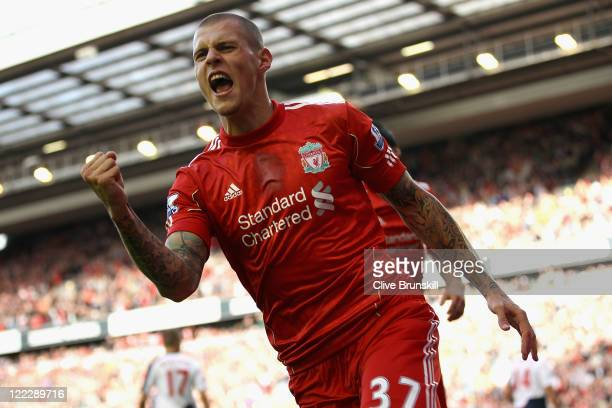 Martin Skrtel of Liverpool celebrates scoring his side's second goal during the Barclays Premier League match between Liverpool and Bolton Wanderers...