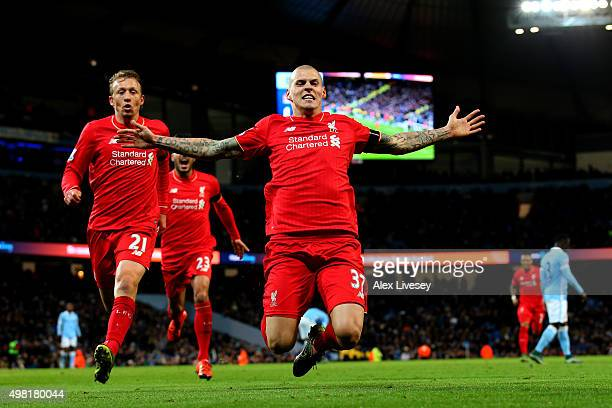 Martin Skrtel of Liverpool celebrates scoring his team's fourth goal during the Barclays Premier League match between Manchester City and Liverpool...