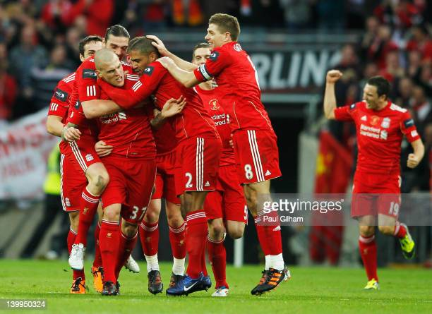 Martin Skrtel of Liverpool celebrates with team mates as he scores their first goal during the Carling Cup Final match between Liverpool and Cardiff...