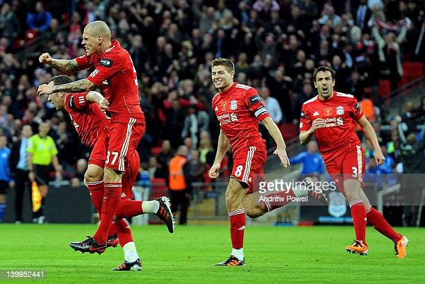 Martin Skrtel of Liverpool celebrates with team-mates Charlie Adam, Steven Gerrard and Jose Enrique after scoring a goal during the Carling Cup Final...