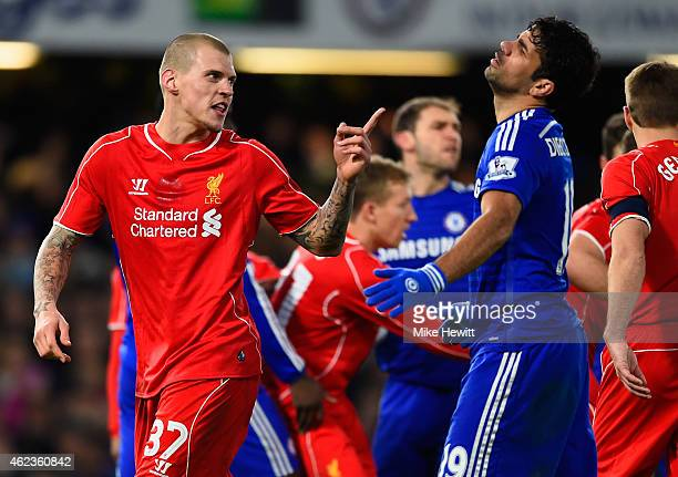 Martin Skrtel of Liverpool clashes with Diego Costa of Chelsea during the Capital One Cup Semi-Final second leg between Chelsea and Liverpool at...