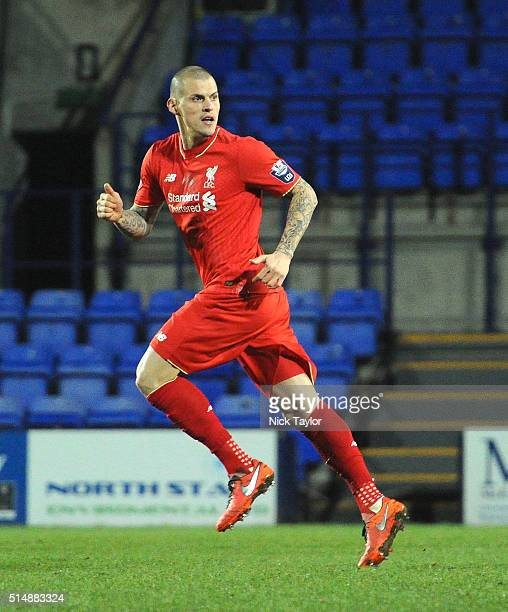 Martin Skrtel of Liverpool in action during the Liverpool v Manchester United U21 Premier League game at Prenton Park on March 11 2016 in Birkenhead...