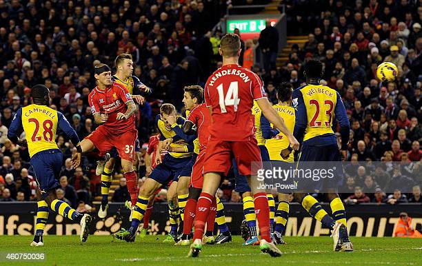 Martin Skrtel of Liverpool scores the equaliser during the Barclays Premier League match between Liverpool and Arsenal at Anfield on December 21 2014...