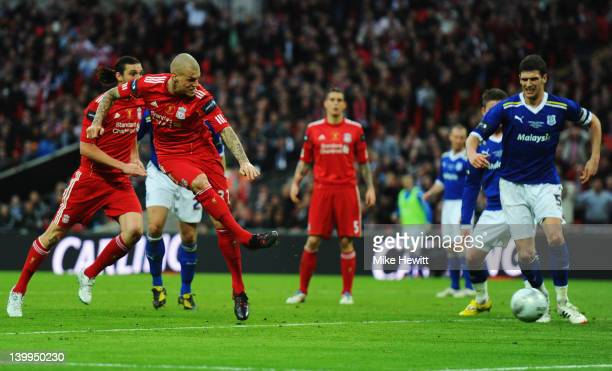 Martin Skrtel of Liverpool scores their first goal during the Carling Cup Final match between Liverpool and Cardiff City at Wembley Stadium on...