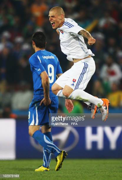 Martin Skrtel of Slovakia celebrates after the 2010 FIFA World Cup South Africa Group F match between Slovakia and Italy at Ellis Park Stadium on...