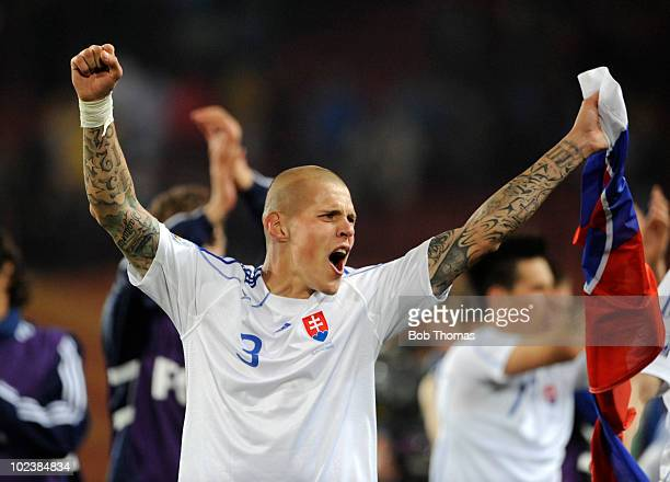 Martin Skrtel of Slovakia celebrates victory after the 2010 FIFA World Cup South Africa Group F match between Slovakia and Italy at Ellis Park...