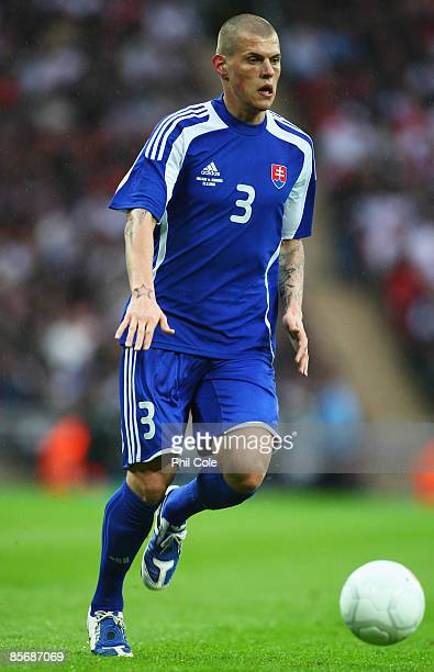 Martin Skrtel of Slovakia in action during the International Friendly match between England and Slovakia at Wembley Stadium on March 28 2009 in...