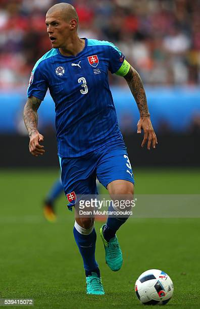 Martin Skrtel of Slovakia in action during the UEFA EURO 2016 Group B match between Wales and Slovakia at Stade Matmut Atlantique on June 11 2016 in...