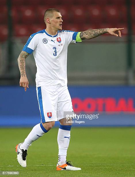 Martin Skrtel of Slovakia issues instructions during the international friendly match between Slovakia and Latvia held at Stadion Antona Malatinskeho...
