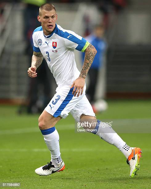 Martin Skrtel of Slovakia looks on during the international friendly match between Slovakia and Latvia held at Stadion Antona Malatinskeho on March...