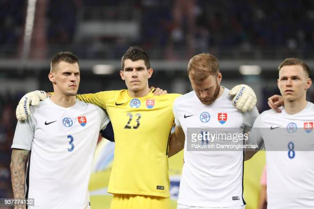 Martin Skrtel of Slovakia Michal Sulla of Slovakia Adam Nemec of Slovakia and Ondrej Duda of Slovakia sing Slovakia's national anthem during the...