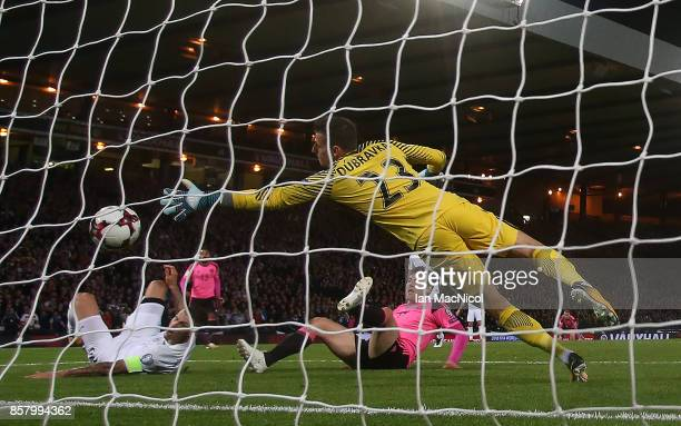 Martin Skrtel of Slovakia scores an own goal during the FIFA 2018 World Cup Qualifier between Scotland and Slovakia at Hampden Park on October 5 2017...