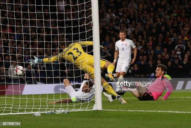 Martin Skrtel of Slovakia scores an own goal during the FIFA 2018 World Cup Qualifier between Scotland and Slovakia at Hampden Park on October 5,...