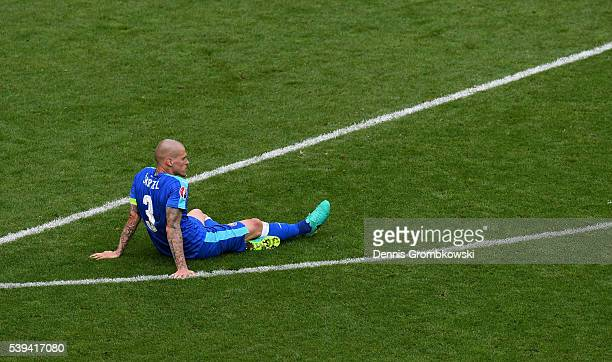 Martin Skrtel of Slovakia shows his dejection after Wales' second goal during the UEFA EURO 2016 Group B match between Wales and Slovakia at Stade...