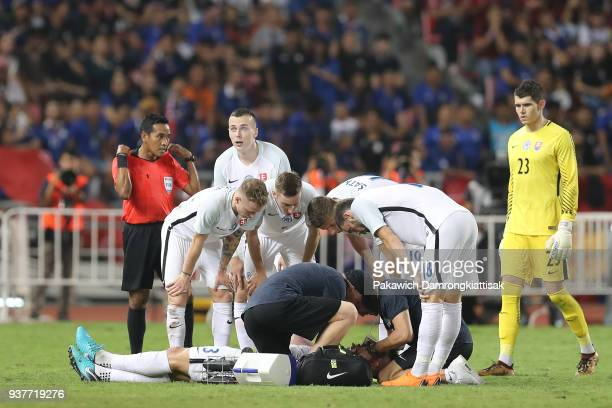 Martin Skrtel of Slovakia take a knock after clash with Chanathip Songkrasin of Thailand during the international friendly match between Thailand and...