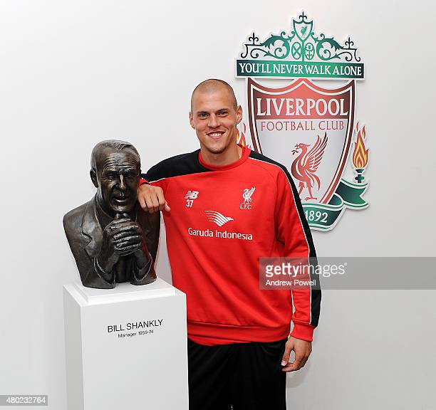 Martin Skrtel poses for a photograph after signing an extension contract for Liverpool at Melwood Training Ground on July 10 2015 in Liverpool England
