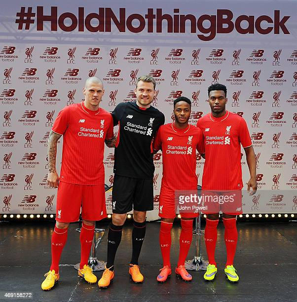 Martin Skrtel Simon Mignolet Raheem Sterling and Daniel Sturridge of Liverpool during the kit launch at Anfield on April 10 2015 in Liverpool England