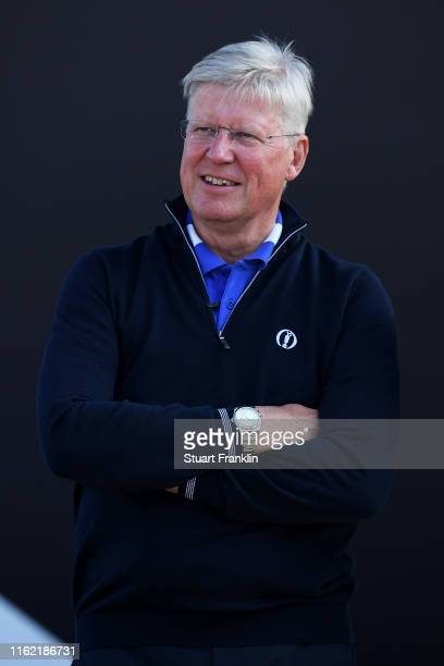 Martin Slumbers, Chief Executive of the R&A, looks on prior to the 148th Open Championship held on the Dunluce Links at Royal Portrush Golf Club on...