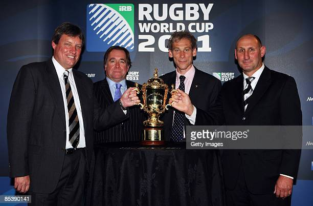 Martin Sneddon, CEO of Rugby New Zealand 2011 Ltd, Murray McCully, Minister of the Rugby World Cup, Mike Miller, Managing Director of Rugby World Cup...