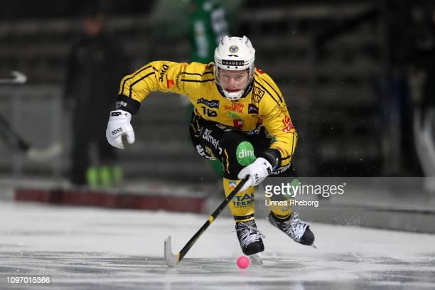 Martin Soderberg of Broberg/Soderhamn Bandy in action during the Elitserien bandy match between Hammarby Bandy and Broberg/Soderhamn Bandy at...