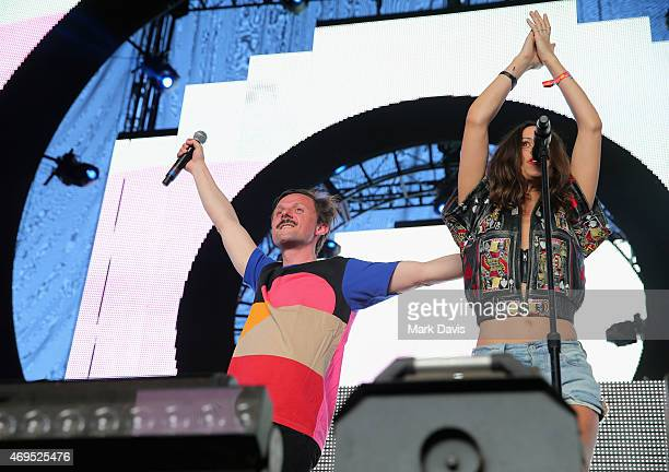 Martin Solveig and singer Martina Sorbara perform onstage during day 3 of the 2015 Coachella Valley Music Arts Festival at the Empire Polo Club on...
