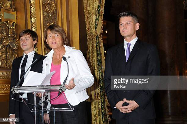 Martin Solveig Minister Christine Albanel and Antoine Baduel from FG Radio attend the DJ Martin Solveig and Antoine Baduel receive the Chevalier des...