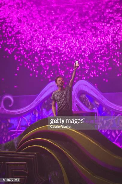 Martin Solveig performs during Unite with Tomorrowland Dubai at Dubai Festival City Arena on July 29 2017 in Dubai United Arab Emirates