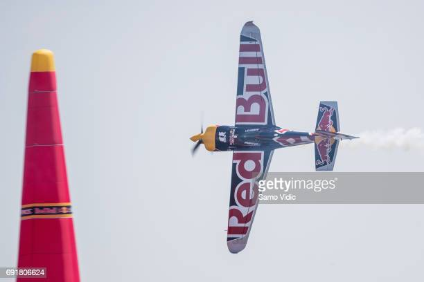 Martin Sonka of Czech Republic performs during the qualifying day at the third stage of the Red Bull Air Race World Championship on June 3 2017 in...