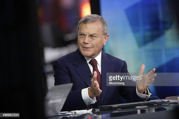Martin Sorrell chief executive officer of WPP Plc gestures as he speaks during a Bloomberg Television interview in London UK on Friday Nov 13 2015...