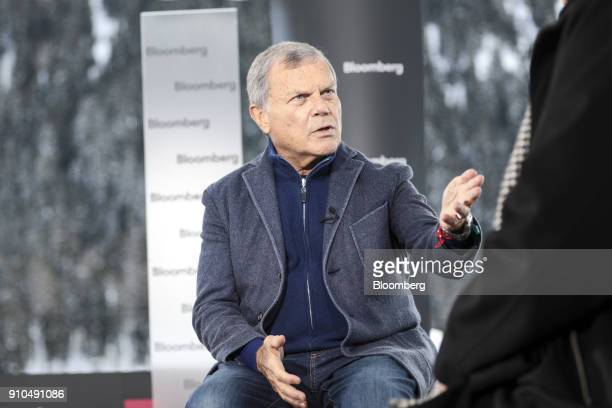 Martin Sorrell chief executive officer of WPP Plc gestures as he speaks during a Bloomberg Television interview on the closing day of the World...