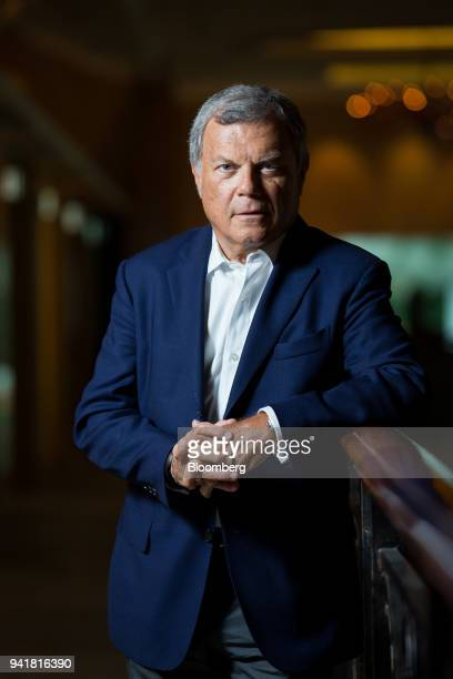 Martin Sorrell, chief executive officer of WPP Plc, poses for a photograph following a Bloomberg Television interview on the sidelines of the...